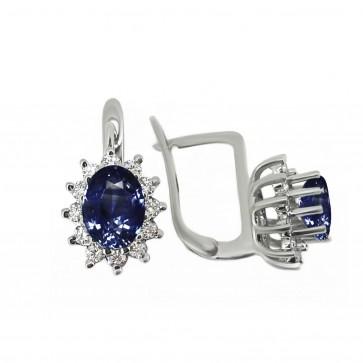 Сережки з діамантами та кольоровим камінням 982-0052