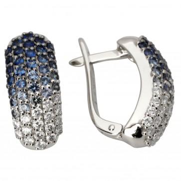 Сережки з діамантами та кольоровим камінням 982-0195