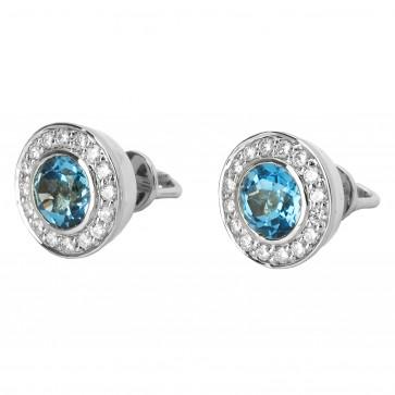 Сережки з діамантами та кольоровим камінням 982-0544