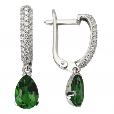 Сережки з діамантами та кольоровим камінням 982-0637