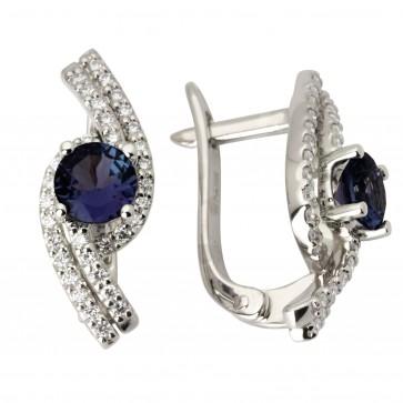 Сережки з діамантами та кольоровим камінням 982-0945