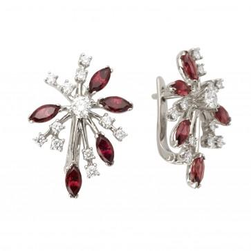 Сережки з діамантами та кольоровим камінням 982-0982