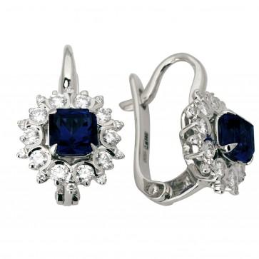 Сережки з діамантами та кольоровим камінням 982-1087