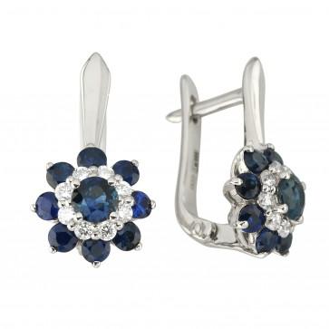 Сережки з діамантами та кольоровим камінням 982-1188
