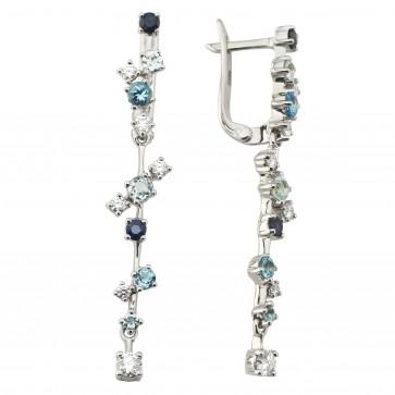 Сережки з діамантами та кольоровим камінням 982-1206