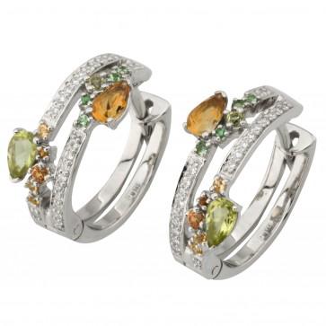 Сережки з діамантами та кольоровим камінням 982-1217