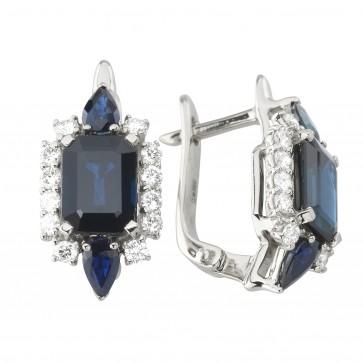 Сережки з діамантами та кольоровим камінням 982-1226
