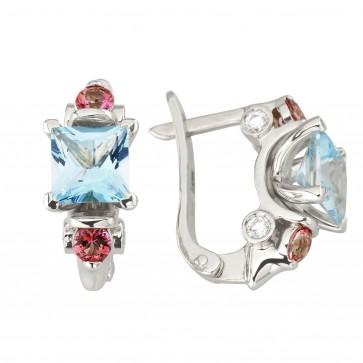 Сережки з діамантами та кольоровим камінням 982-1228