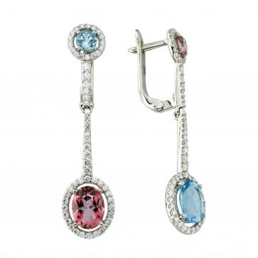 Сережки з діамантами та кольоровим камінням 982-1235