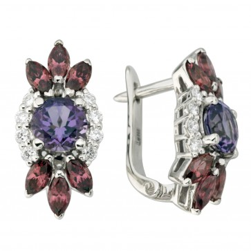 Сережки з діамантами та кольоровим камінням 982-1237