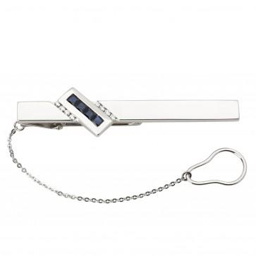 Затискач для краватки з діамантами та кольоровим камінням 985-0054
