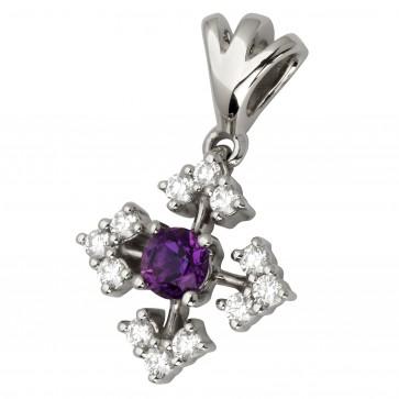 Підвіска з діамантами та кольоровим камінням 989-0754