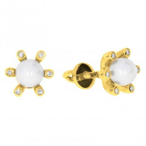 Сережки з перлиною та діамантами 062-0147