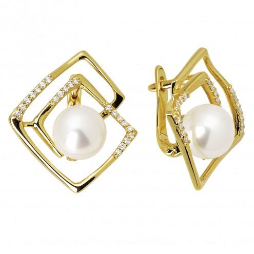 Сережки з перлиною та діамантами 062-0673