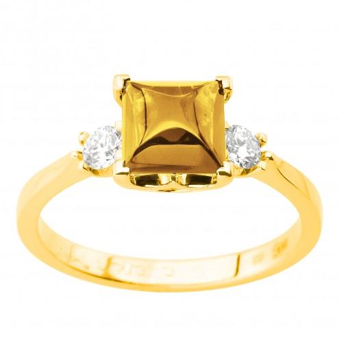 Каблучка з діамантами та кольоровим камінням 081-2001