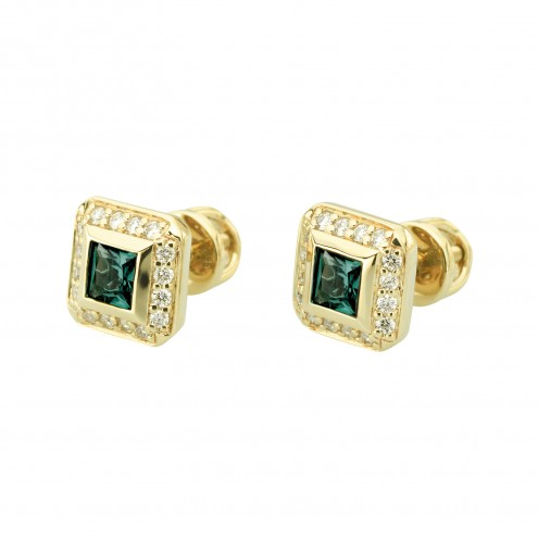 Сережки з діамантами та кольоровим камінням 082-1398