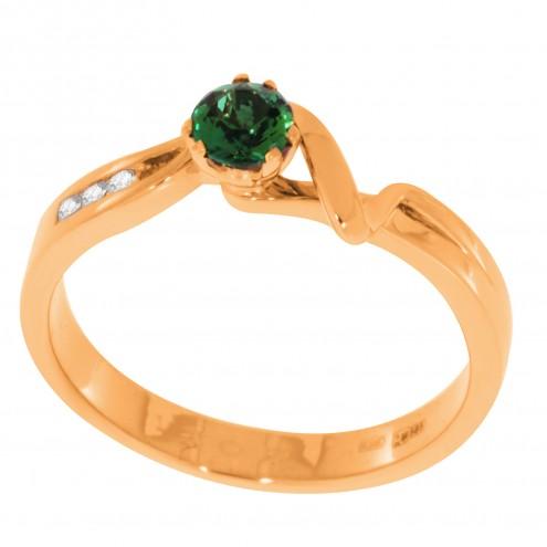 Каблучка з діамантами та кольоровим камінням 181-0546