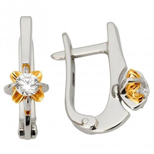 Сережки з 1 діамантом 322-1083