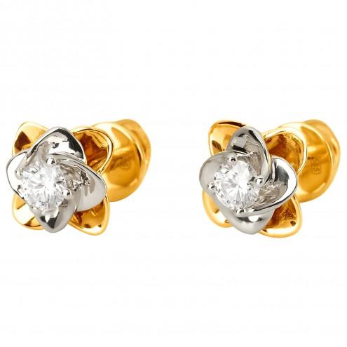Сережки з 1 діамантом 322-1144