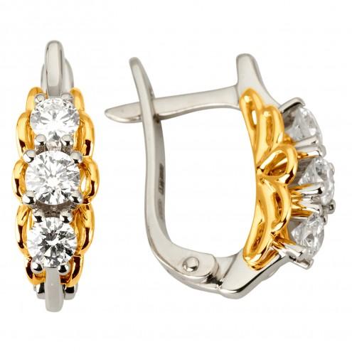 Сережки з декількома діамантами 342-1138