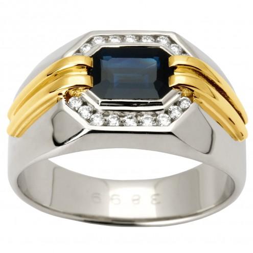 Перстень з діамантами та кольоровим камінням 381-1345