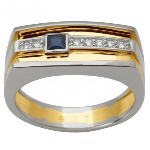 Перстень з діамантами та кольоровим камінням 381-1492