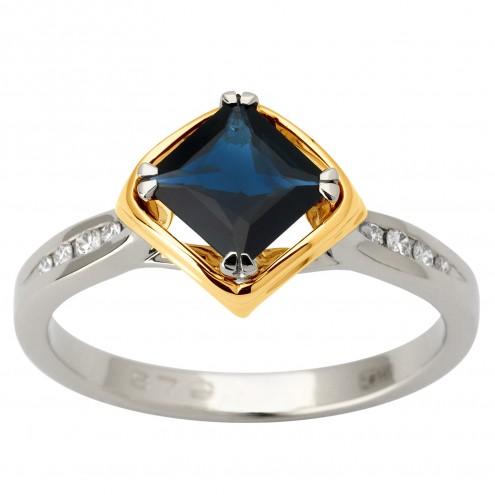 Каблучка з діамантами та кольоровим камінням 381-1819