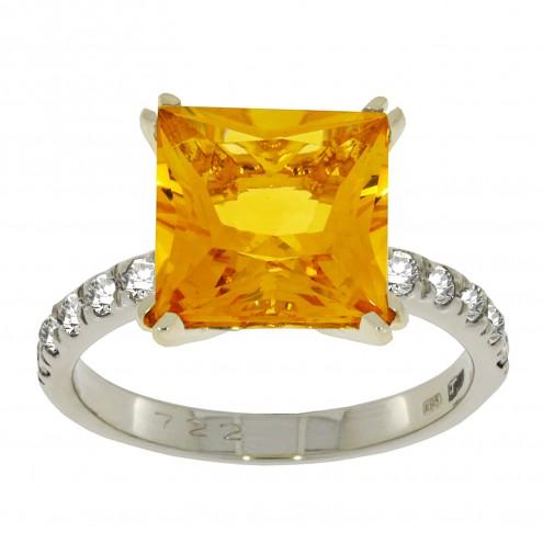 Каблучка з діамантами та кольоровим камінням 381-1847
