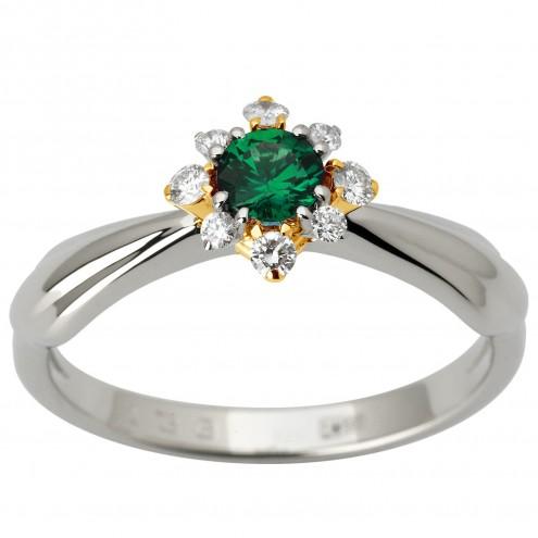 Каблучка з діамантами та кольоровим камінням 381-1850