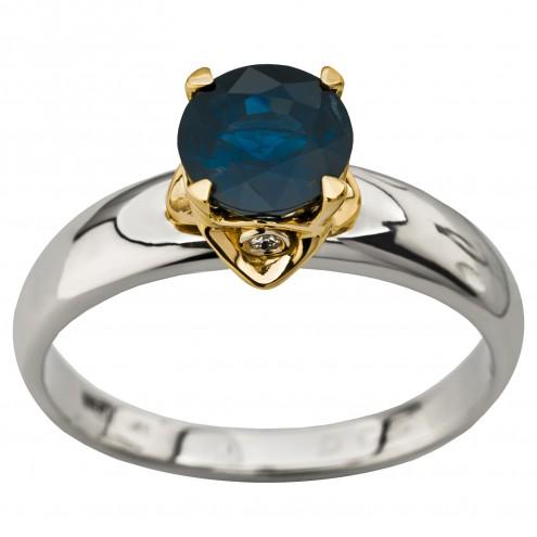 Каблучка з діамантами та кольоровим камінням 381-1941
