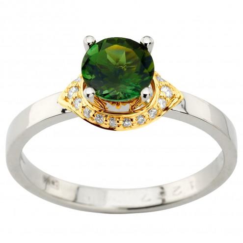 Каблучка з діамантами та кольоровим камінням 381-1954
