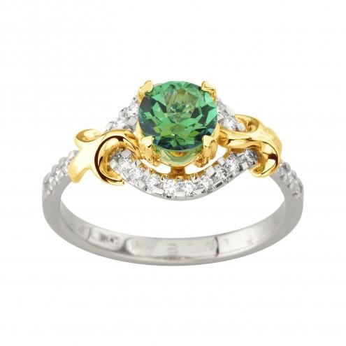 Каблучка з діамантами та кольоровим камінням 381-1988