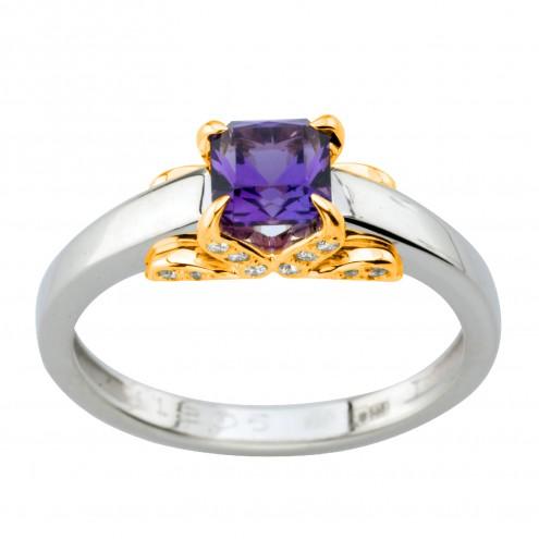 Каблучка з діамантами та кольоровим камінням 381-2010