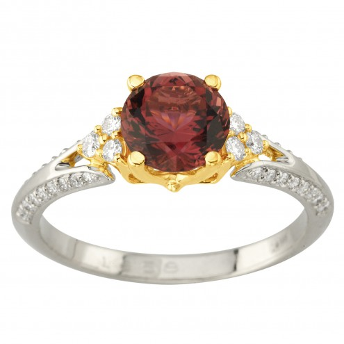 Каблучка з діамантами та кольоровим камінням 381-2030