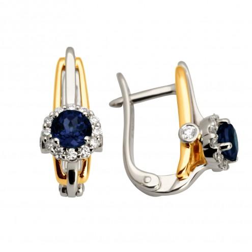 Сережки з діамантами та кольоровим камінням 382-0934