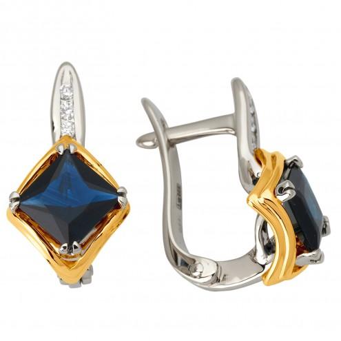 Сережки з діамантами та кольоровим камінням 382-1078