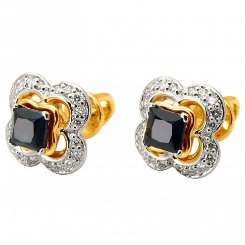 Сережки з діамантами та кольоровим камінням 382-1125