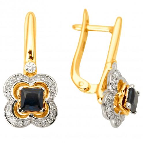 Сережки з діамантами та кольоровим камінням 382-1126