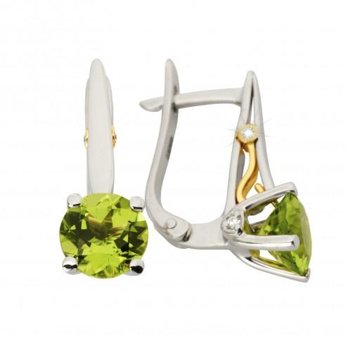Сережки з діамантами та кольоровим камінням 382-1158