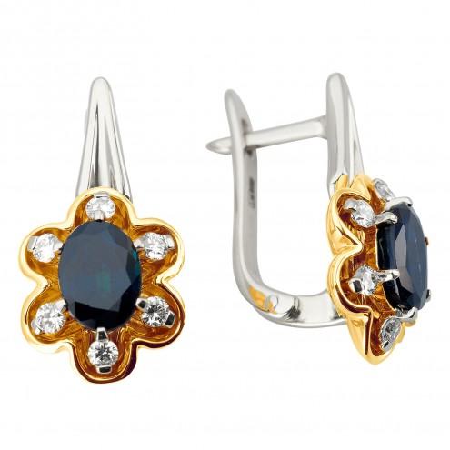 Сережки з діамантами та кольоровим камінням 382-1190