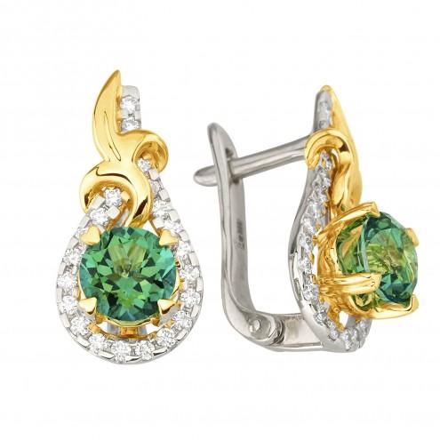 Сережки з діамантами та кольоровим камінням 382-1230