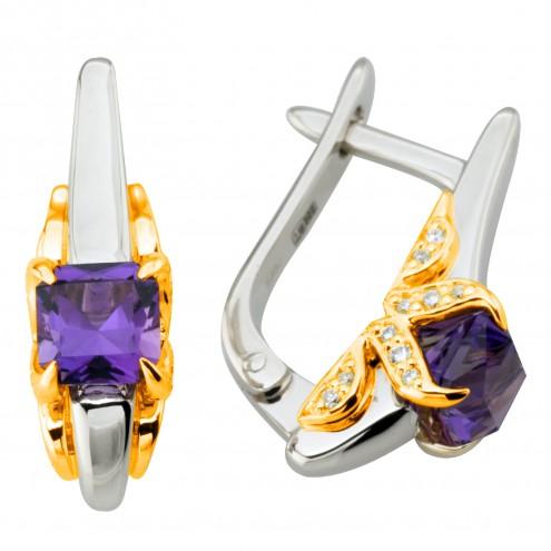 Сережки з діамантами та кольоровим камінням 382-1253