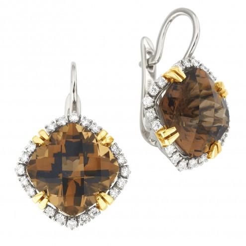 Сережки з діамантами та кольоровим камінням 382-1296