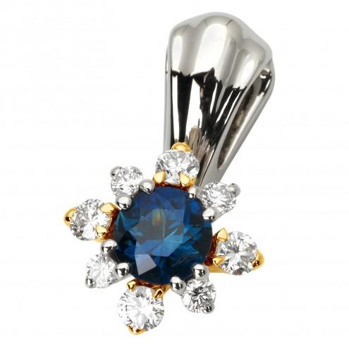 Підвіска з діамантами та кольоровим камінням 389-0783
