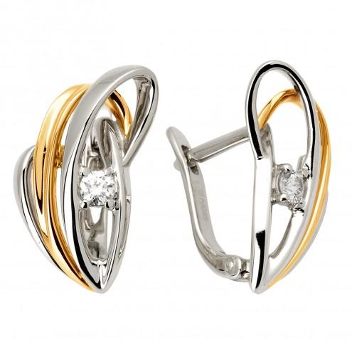 Сережки з 1 діамантом 822-0635