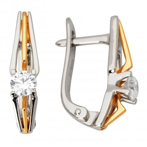 Сережки з 1 діамантом 822-0972