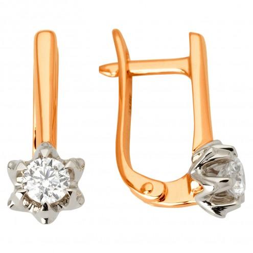 Сережки з 1 діамантом 822-1100