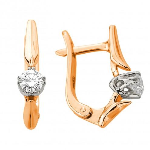 Сережки з 1 діамантом 822-1286