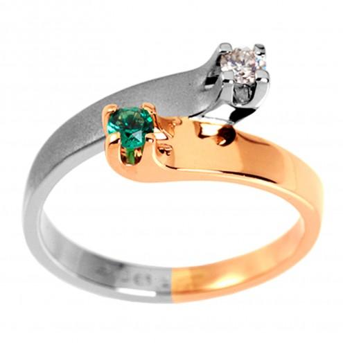 Каблучка з діамантами та кольоровим камінням 881-0493