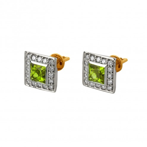 Сережки з діамантами та кольоровим камінням 882-0545